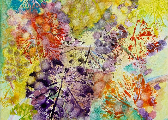 Grapes Greeting Card featuring the painting Grapes And Leaves I by Karen Fleschler