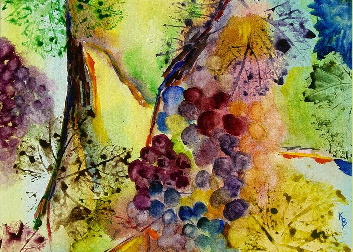 Watercolor Greeting Card featuring the painting Grapes And Leaves IIi by Karen Fleschler
