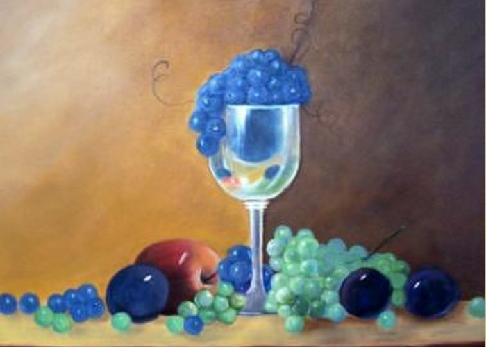 Wine Galsses With Grapes Greeting Card featuring the painting Grapes And Plums by Susan Dehlinger