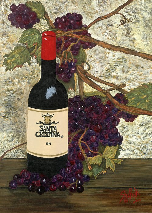 Still Life Greeting Card featuring the painting Grapes And Wine by SheRok Williams