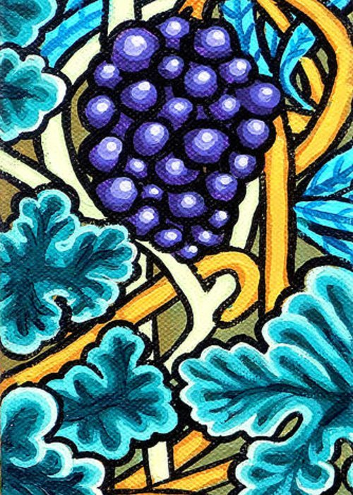 Purple Grapes On A Vine Greeting Card featuring the painting Grapes by Genevieve Esson