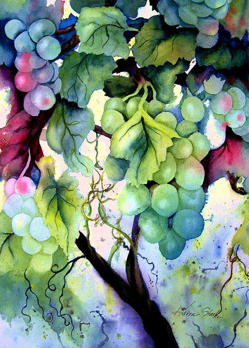 Grapes Greeting Card featuring the painting Grapes II by Karen Stark