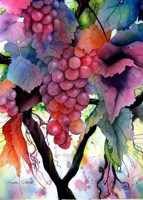 Grape Greeting Card featuring the painting Grapes III by Karen Stark