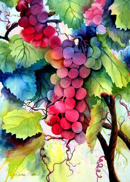 Grapes Greeting Card featuring the painting Grapes by Karen Stark
