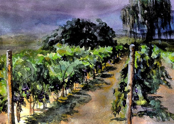 Vineyard Greeting Card featuring the painting Grapes Of Niagara by Mary Sonya Conti