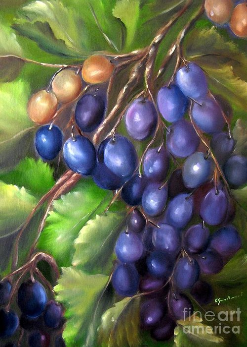 Grapes Greeting Card featuring the painting Grapevine by Carol Sweetwood