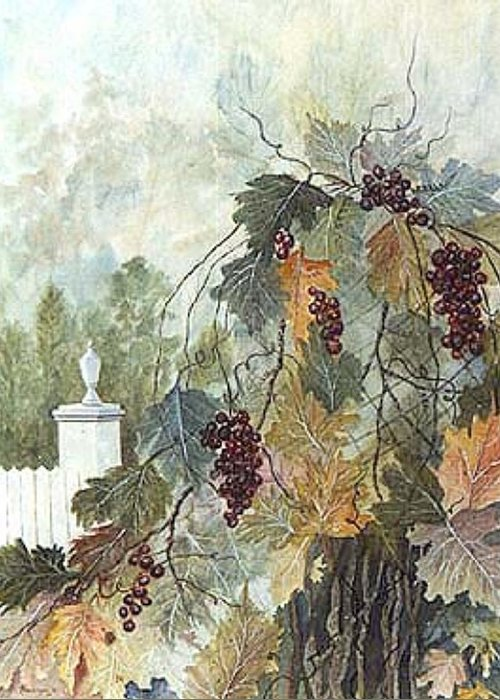 Fruit Greeting Card featuring the painting Grapevine Topiary by Ben Kiger