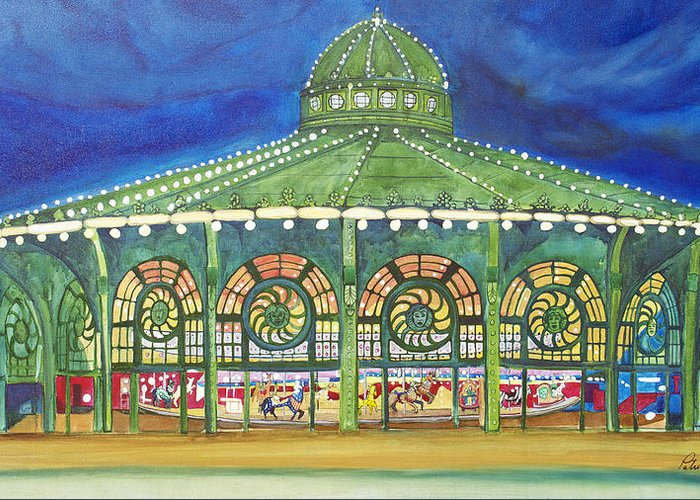 Night Paintings Of Asbury Park Greeting Card featuring the painting Grasping The Memories by Patricia Arroyo
