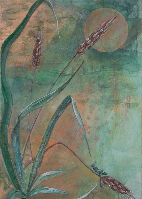 Eastern Symbolism Greeting Card featuring the painting Grasshopper Looks At The Moon by Sandy Clift