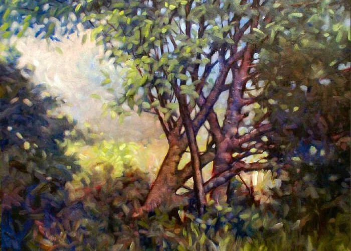 Landscape Greeting Card featuring the painting Grateful Mulberry by Kevin Lawrence Leveque