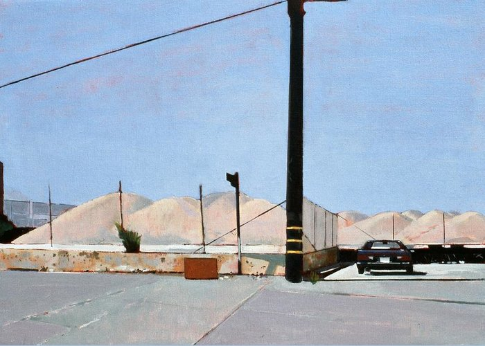 Gravel Piles Downtown La Greeting Card featuring the painting Gravel Piles Downtown La by Peter Wilson