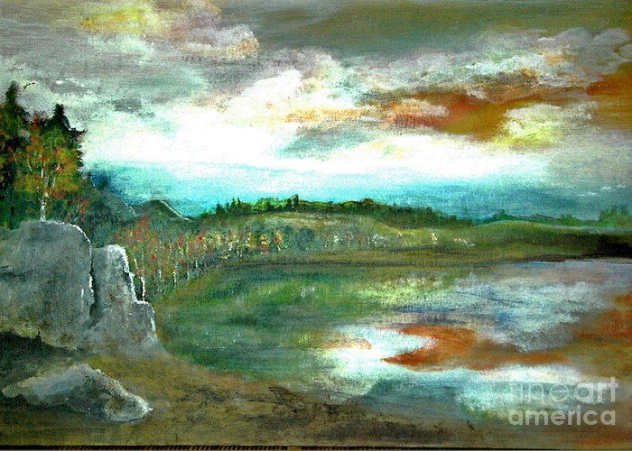 Landscape Greeting Card featuring the painting Gravel Pit Overgrown by Vi Mosley