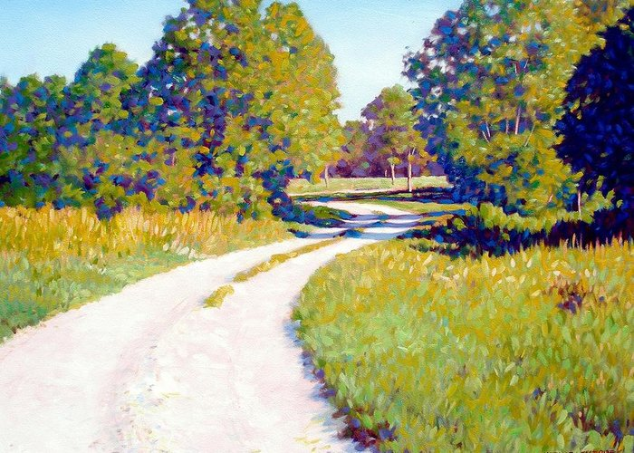 Landscape Greeting Card featuring the painting Gravel Road by Kevin Lawrence Leveque
