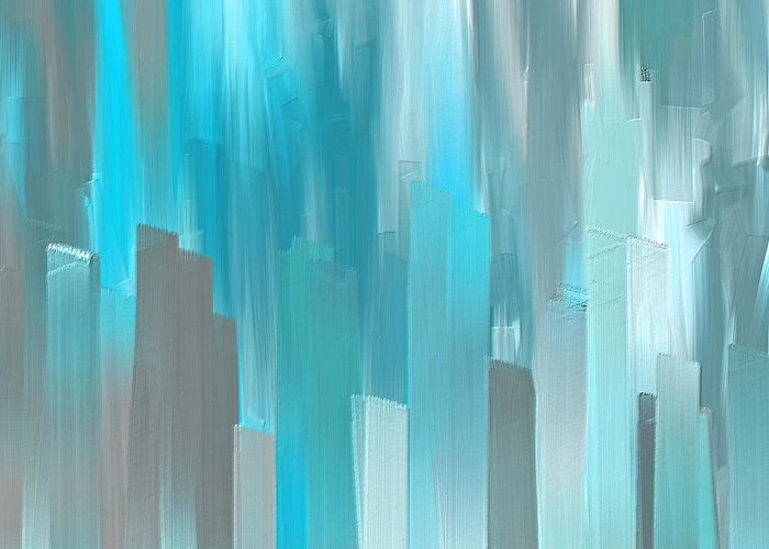 058efcc32b7 Blue Greeting Card featuring the painting Gray And Teal Abstract Art by Lourry  Legarde