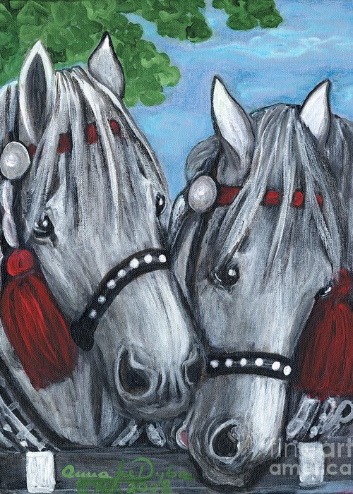 Folkartanna Greeting Card featuring the painting Gray Horses by Anna Folkartanna Maciejewska-Dyba