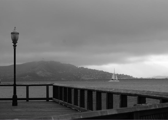 Water Greeting Card featuring the photograph Gray Over The Bay by Brian Anderson