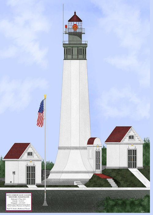 Lighthouse Greeting Card featuring the painting Grays Harbor Light Station Historic View by Anne Norskog