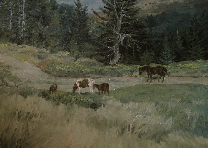 Landscape Greeting Card featuring the painting Grazing by Richard Ong
