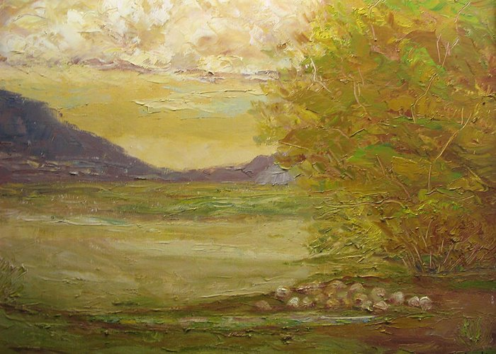 Landscape Greeting Card featuring the painting Grazing Sheep New Mexico Usa by Belinda Consten