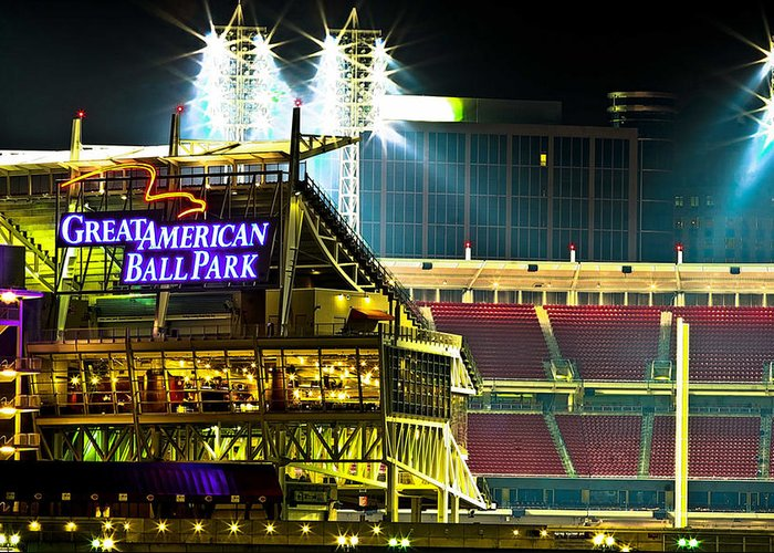 Great American Ballpark Greeting Card featuring the photograph Great American Ballpark by Keith Allen