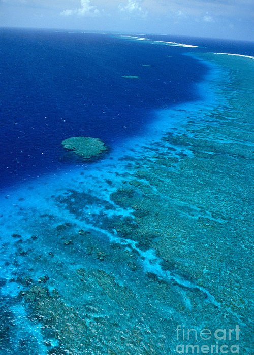Aerial Greeting Card featuring the photograph Great Barrier Reef by Bill Schildge - Printscapes