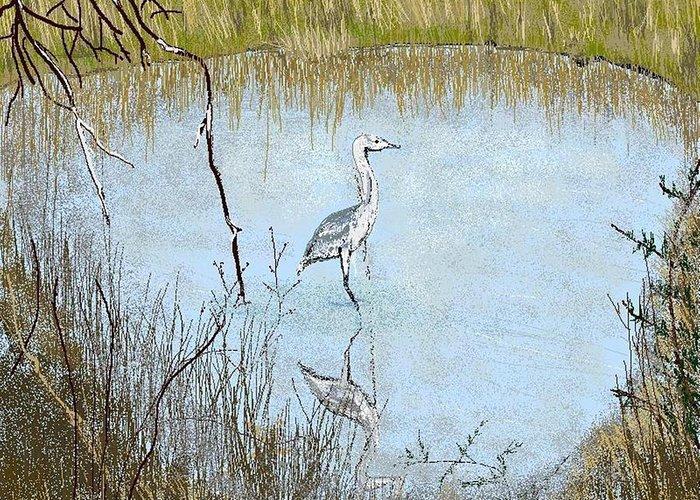 Bird Greeting Card featuring the digital art Great Blue by Carole Boyd