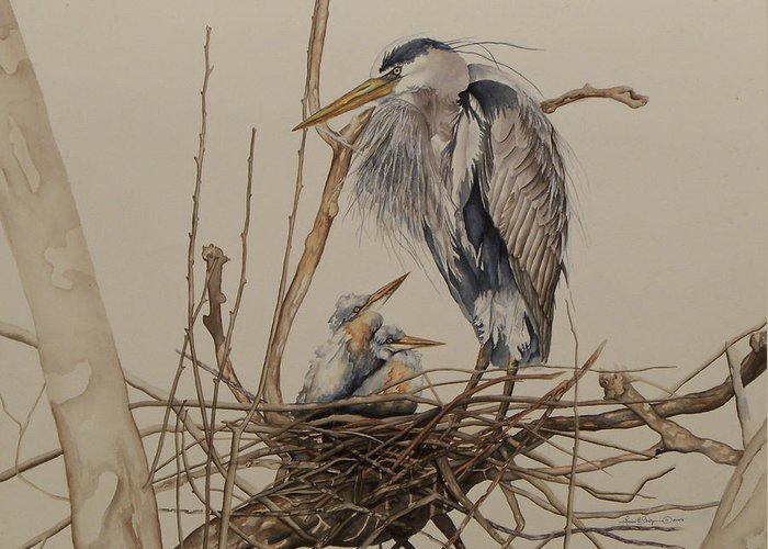 Great Blue Heron Greeting Card featuring the painting Great Blue Heron And Chicks by Laurie Tietjen
