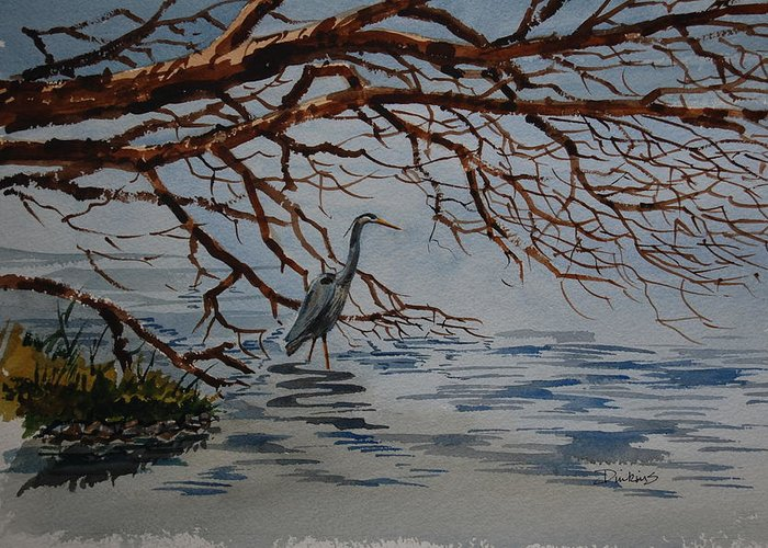 Landscape Greeting Card featuring the painting Great Blue Heron by Bill Dinkins