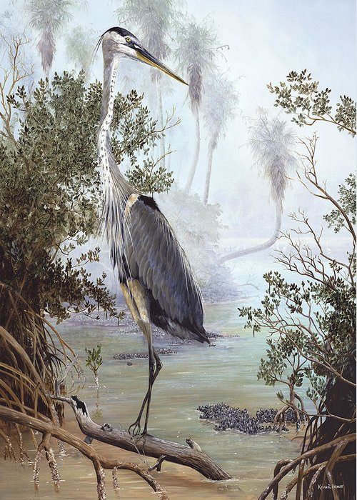 Blue Heron Greeting Card featuring the painting Great Blue Heron by Kevin Brant