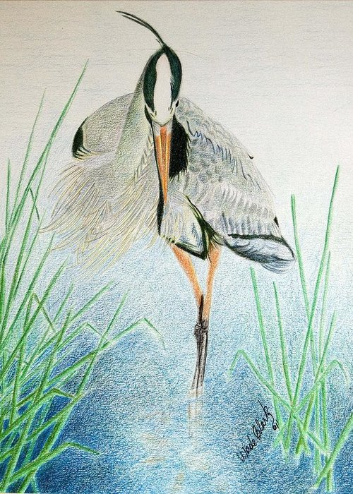 Animals Greeting Card featuring the painting Great Blue Heron by Wade Clark