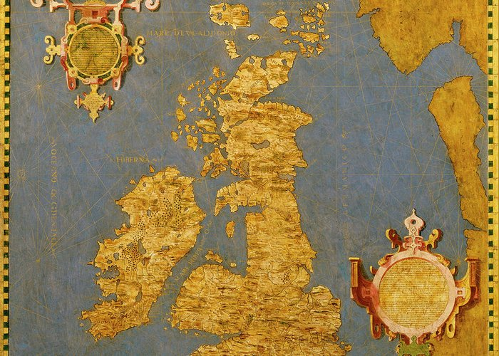 Map Greeting Card featuring the painting Great Bretain And Ireland by Italian painter of the 16th century