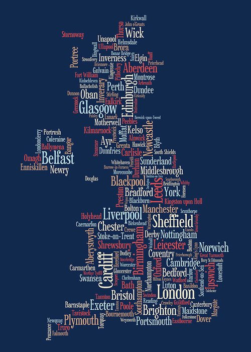 United Kingdom Greeting Card featuring the digital art Great Britain Uk City Text Map by Michael Tompsett