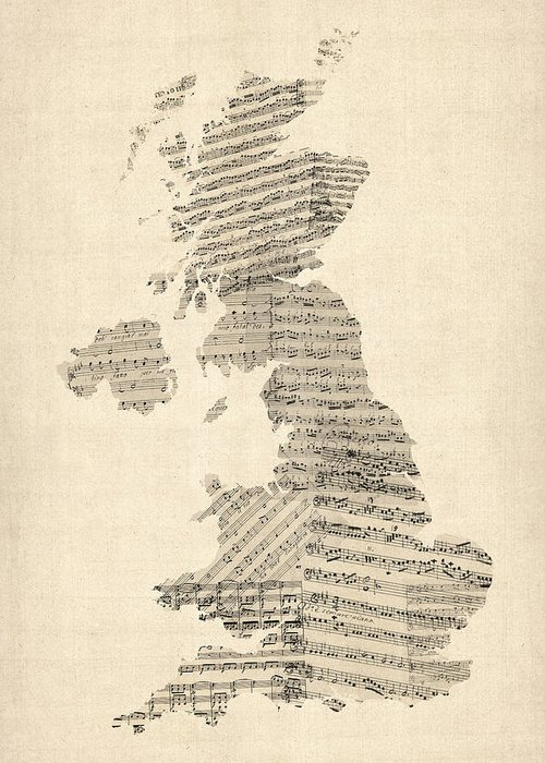 United Kingdom Map Greeting Card featuring the digital art Great Britain Uk Old Sheet Music Map by Michael Tompsett
