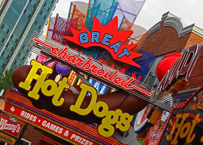 Neon Signs Greeting Card featuring the photograph Great Charbroiled Hot Dogs by Elizabeth Hoskinson