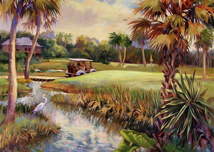Landscape Greeting Card featuring the painting Great Day For Golf by Dianna Willman