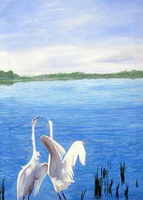 Wildlife Greeting Card featuring the painting Great Egrets by Lauretta Cole Larsen
