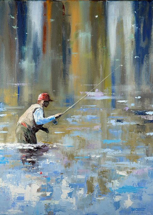Flyfishing Greeting Card featuring the painting Great Expectations by Glenn Secrest
