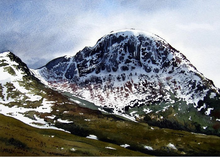 Great Gable Greeting Card featuring the painting Great Gable by Paul Dene Marlor