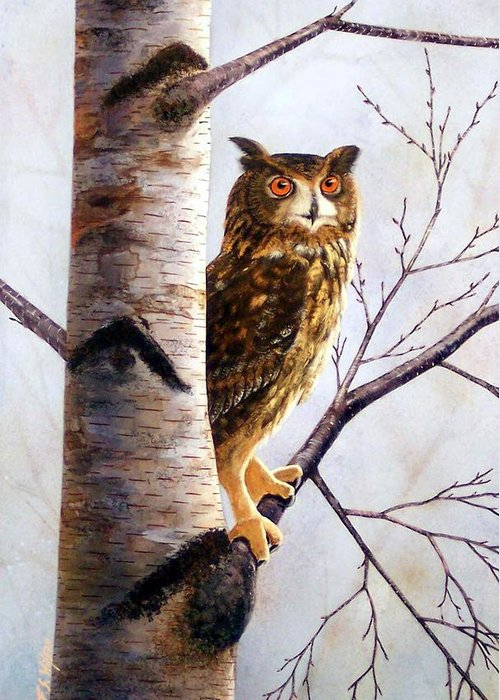 Great Horned Owl In Birch Greeting Card featuring the painting Great Horned Owl In Birch by Frank Wilson