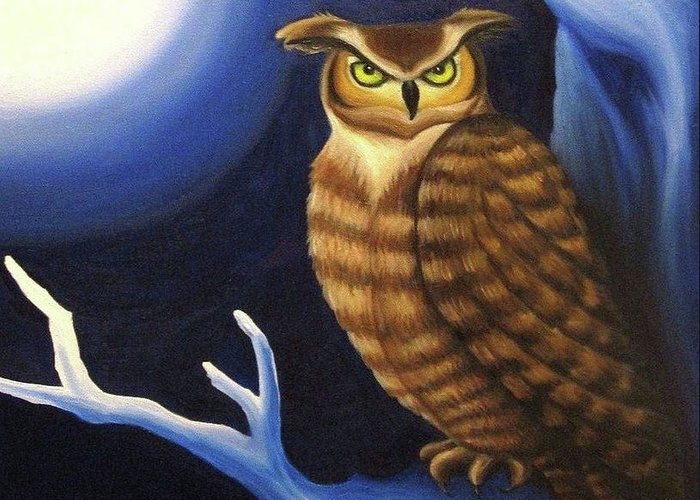 Great Horned Owl Greeting Card featuring the painting Great Horned Owl by Morgan Leshinsky