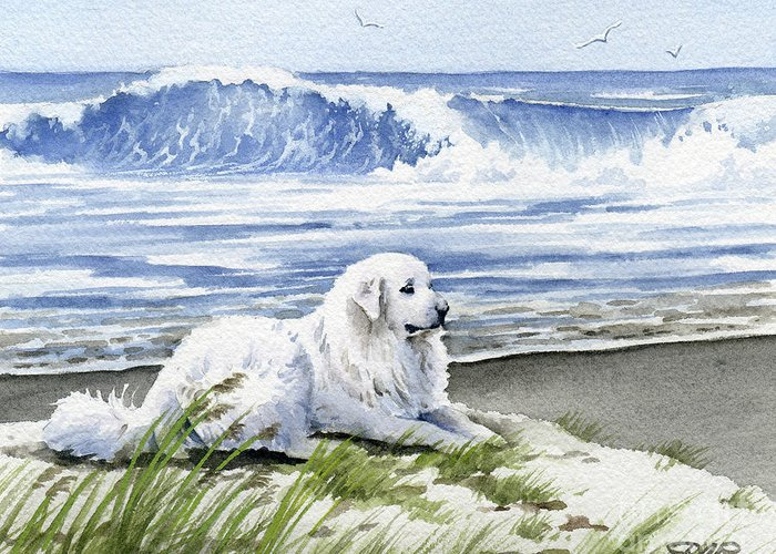 Great Greeting Card featuring the painting Great Pyrenees At The Beach by David Rogers