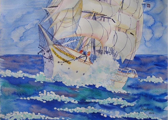 Seascape Greeting Card featuring the painting Great Sails.2006 by Natalia Piacheva