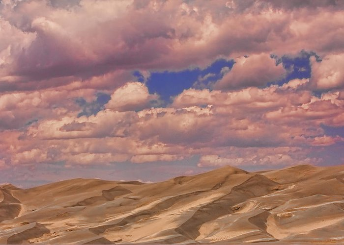 the Great Colorado Sand Dunes Greeting Card featuring the photograph Great Sand Dunes And Great Clouds by James BO Insogna