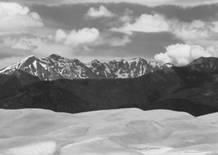 Greeting Card featuring the photograph Great Sand Dunes Panorama 1 Bw by James BO Insogna