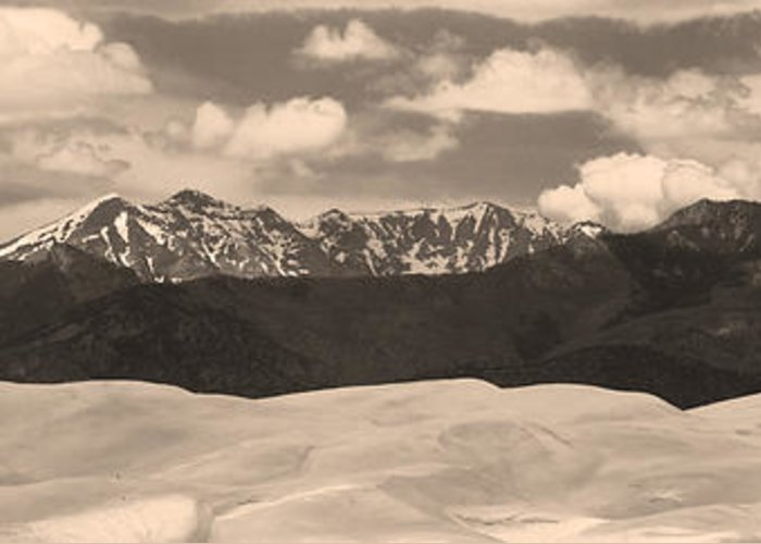 Greeting Card featuring the photograph Great Sand Dunes Panorama 1 Sepia by James BO Insogna