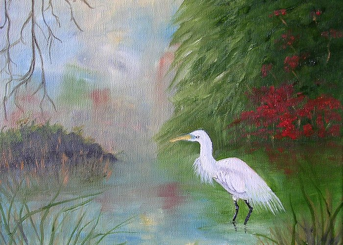 Egret Greeting Card featuring the painting Great White Egret by Barbara Harper