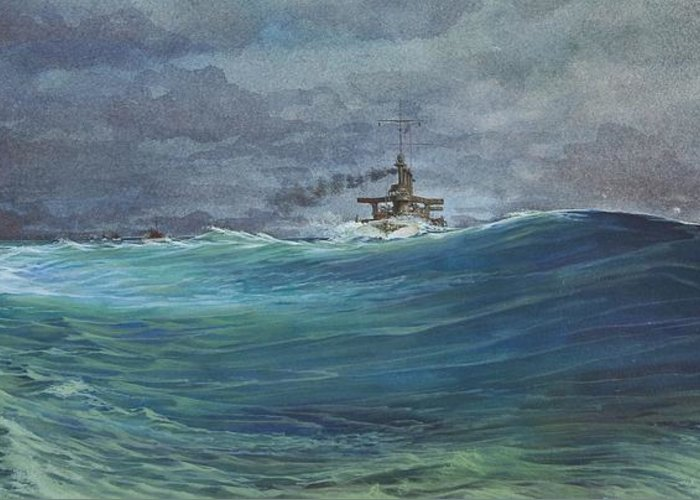 Seascape Greeting Card featuring the painting Great White Fleet In A Squall by Stephen Bluto
