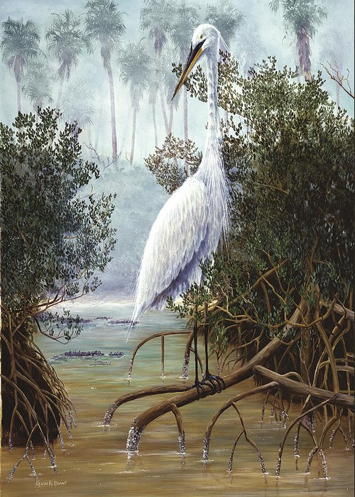 White Heron Greeting Card featuring the painting Great White Heron by Kevin Brant