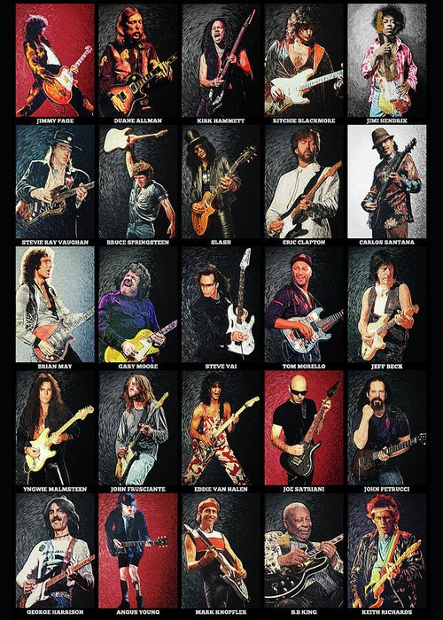 Eric Clapton Guitarist Digital Art Greeting Cards