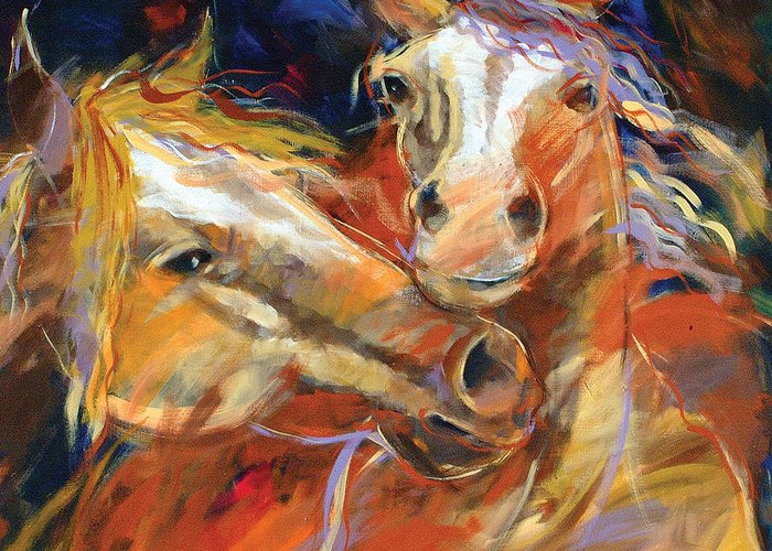 Nature Greeting Card featuring the painting Grecos Horses by Ron Patterson